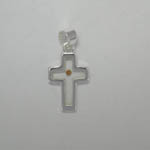 Sterling Silver cross with Mustard Seed pendant