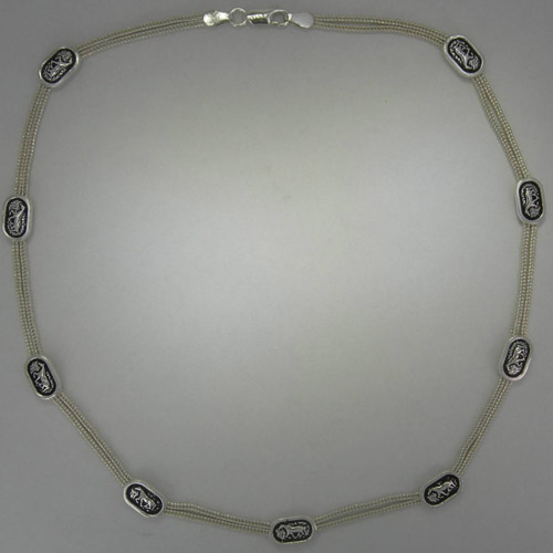 Sterling Silver two strand necklace with small horse designs