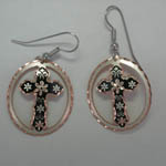Copper and enamel cross dangle earrings