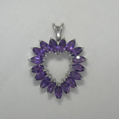Sterling Silver Amethyst heart shaped pendant