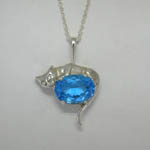Sterling Silver Blue Topaz cat necklace