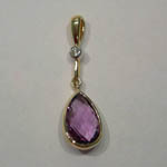 14 karat yellow gold Amethyst and diamond pendant