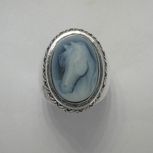 Sterling Silver Agate cameo basket weave ring