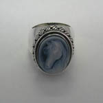 top of Sterling Silver Agate Cameo basket weave ring