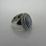 side of Sterling Silver Agate Cameo basket weave ring