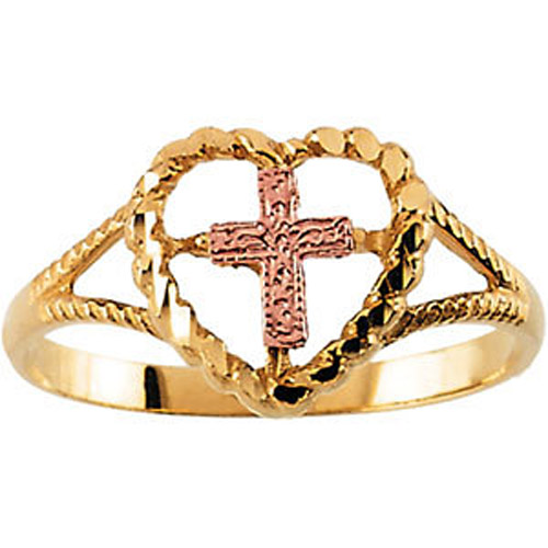 14 karat yellow and rose gold cross and heart ring