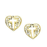 14 karat yellow gold filigree cross and heart post earrings
