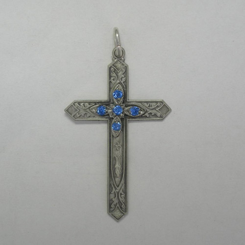 Sterling Silver September birthstone cross pendant