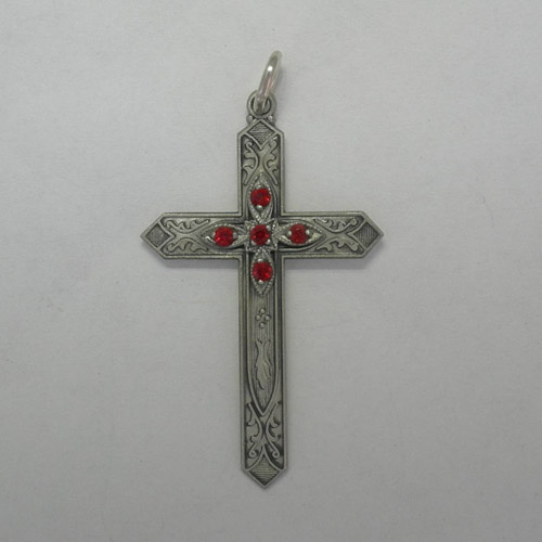 Sterling Silver Ruby birthstone cross pendant
