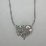 Black Hills Gold Sterling Silver cat and leaves necklace