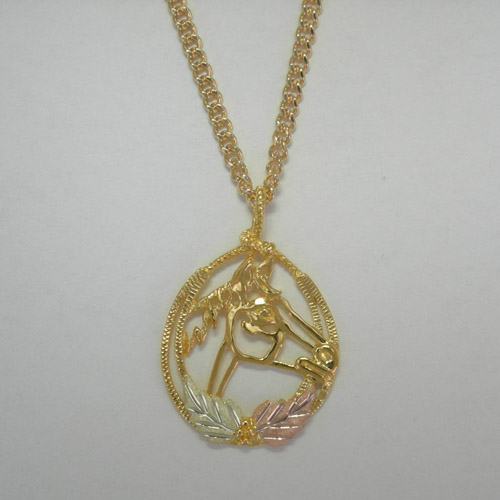 Black Hills Gold horse head and leaves necklace
