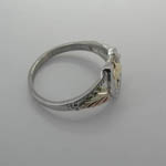 Side view of Black Hills Gold Sterling Silver horse head in horseshoe ring