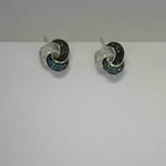 Sterling Silver diamond knot post earrings