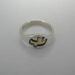 Top view of Sterling Silver and Gold Dove ring