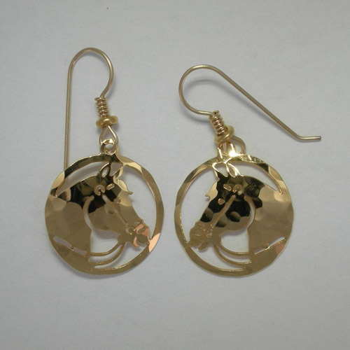 14 karat yellow gold plated bridled horse in circle dangle earrings