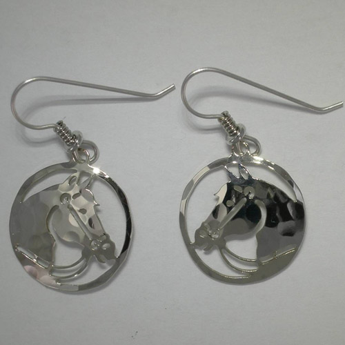 Rhodium plated bridled horse head in circle dangle earrings