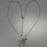 Rhodium plated Pinto Horse necklace