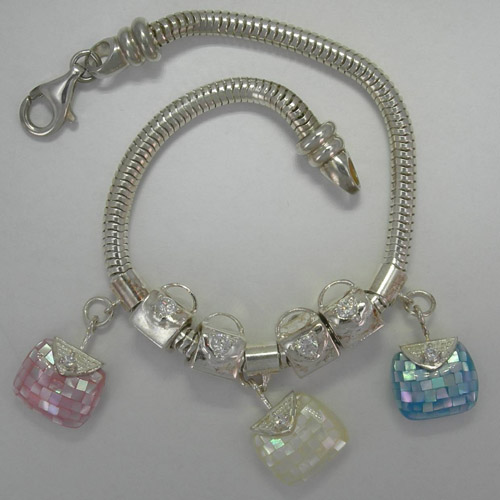 Sterling Silver Frolic Charm Bracelet with Purse charms