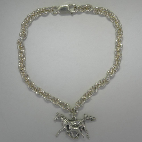 Sterling Silver Arabian mare and foal charm bracelet