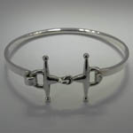 Sterling Silver full cheek snaffle bit bangle bracelet