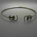 Sterling Silver small double horseshoes bangle bracelet