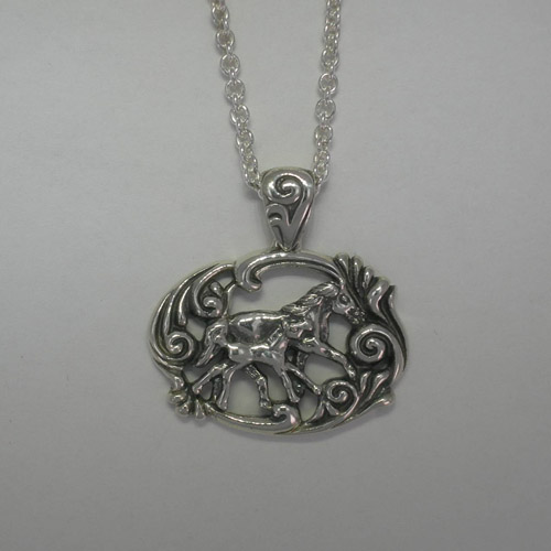 Sterling Silver trotting mare and foal necklace