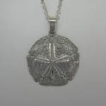 Sterling Silver large Sand Dollar necklace