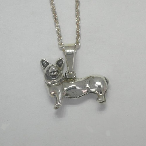 Sterling Silver small 3 D Welsh Corgi dog necklace