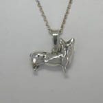 Backside of small 3 D Welsh Corgi necklace