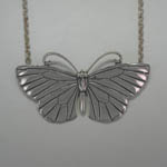 Sterling Silver large Antillean Blue Butterfly necklace