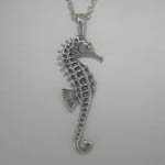 Backside of 3 D Sterling Silver Sea Horse necklace