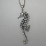 Sterling Silver large 3 D Sea Horse necklace