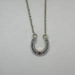 Sterling Silver horsesshoe with ruby necklace