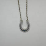 Sterling Silver horseshoe with Sapphire necklace