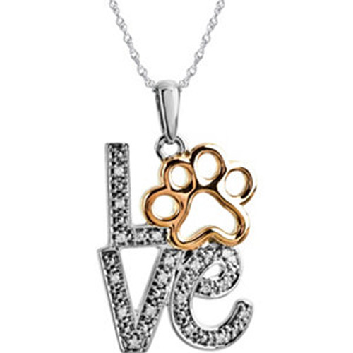 Sterling Silver and gold diamond Love Paw Print Necklace