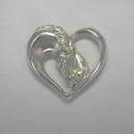 Argenta Silver mare and foal in heart with diamonds brooch pendant