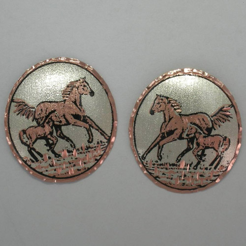 Copper mare and foal circular stud earrings
