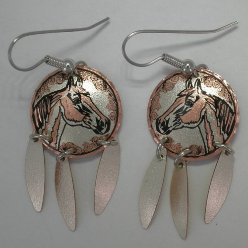 Copper horse head earrings with feather dangles