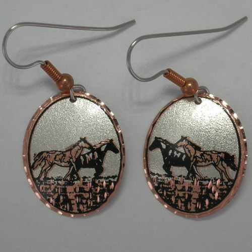 Copper galloping horses dangle earrings