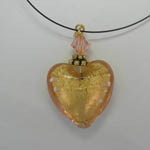Venetian Glass gold and rose heart with nylon chain necklace