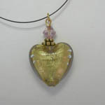 Venetian Glass gold and violet heart necklace
