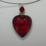 Venetian Glass Red heart necklace