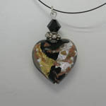Venetian Glass other side of Black Gold Silver Copper heart necklace