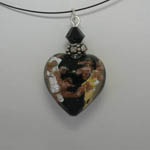 Venetian Glass black and gold and silver and copper heart necklace