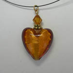 Venetian Glass Amber colored heart necklace