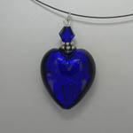 Venetian Glass cobalt blue heart necklace