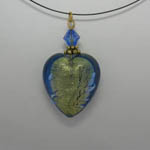 Venetian Glass blue and gold heart necklace