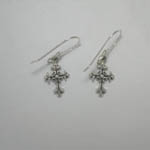 Sterling Silver small ornate cross dangle earrings