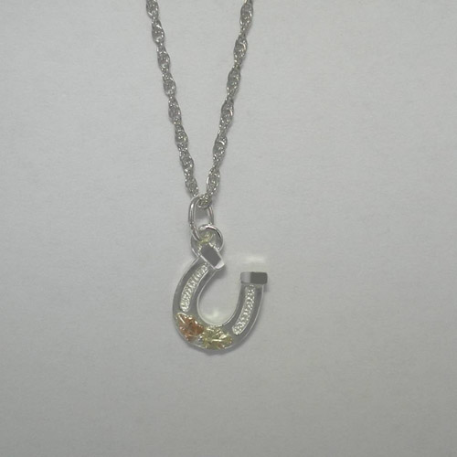 Black Hills Gold Sterling Silver small horseshoe necklace