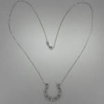 Custom 14 karat white gold horse shoe necklace